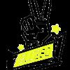 SLC280-Sticker-Peace-schwarz-neongelb